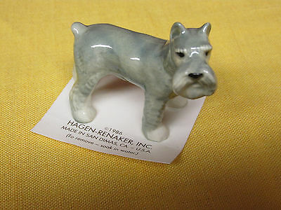 Miniature Hagen Renaker Gray Schnauzer Dog Figurine Carded