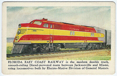 Vintage 1949 EMD Pocket Calendar Card FLORIDA EAST COAST RAILWAY Champion Diesel