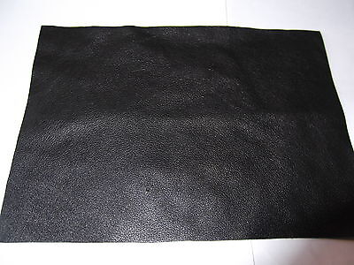 """TOP QUALITY  BLACK LEATHER 7"""" x 5"""" REMNANT / PATCH / TRIMMINGS GREAT FOR REPAIRS"""
