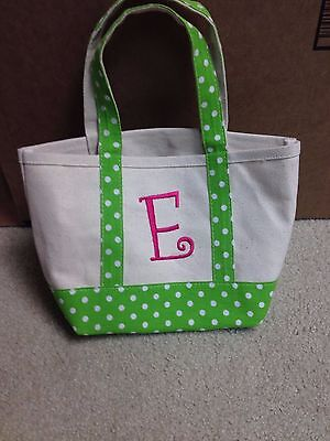 "Small Kids Heavy Duty Canvas Beach Tote with ""E"" Initial"
