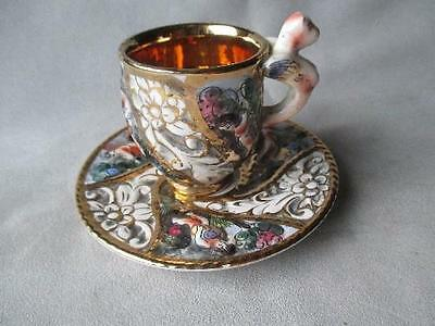 Fabulous Capodimonte Demitasse Cup And Saucer