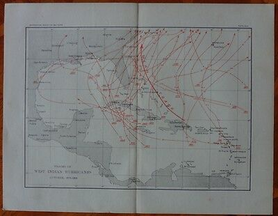West Indies Hurricanes Map 1878-1903 Caribbean Latin America