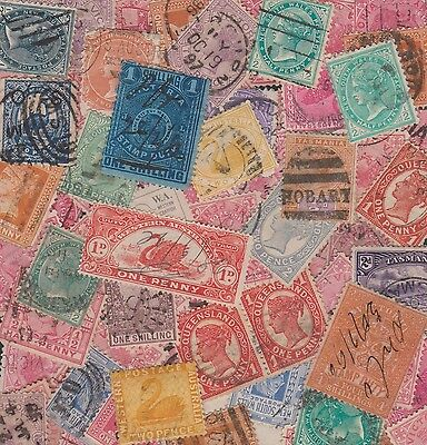 australia SMALL BOX old STATES STAMPS
