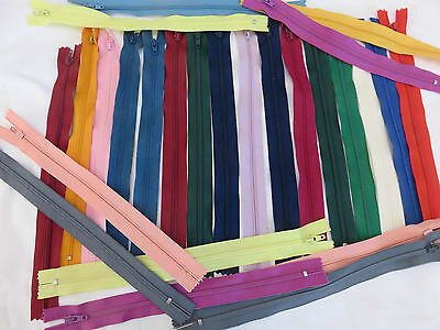 GREAT ASSORTMENT 100 New zippers  approx 18 cm to 25 cm mixed colours