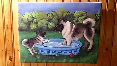 """Norwegian Elkhound 12"""" by 16"""" stretched canvas art PRINT by Amy Bolin SUMMER'S"""