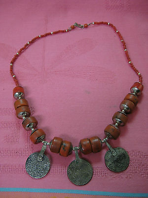 Great old Tiznit Moroccan Berber Yemen raw coral necklace with old coins