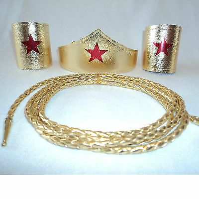 Wonder Woman Costume Tiara / Cuffs / Lasso Choose set pcs &Sze Super Hero Shiny