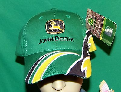 John Deere Hat, RARE 3D Wave Style Hat, Really Cool Yellow and green embroidered