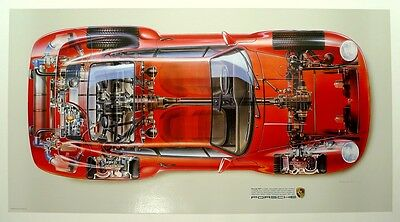 Porsche 959 official PCNA poster,  professionally archival linen mounted
