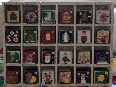 Plastic Canvas Christmas Advent Calendar With Wooden Display Shelf Case 24x32