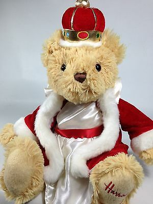 RARE Harrods Knightsbridge Royal Queen Teddy Bear Plush Red Cloak Crown London
