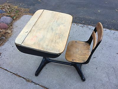 School Desk Mid Century Vintage Norman Bel Geddes With Chair, 1940's