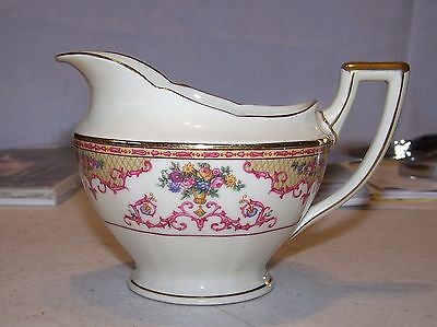 Heinrich & Co. (H&C) Cream Pitcher - Colorful Flowers, Pink Scroll - Germany