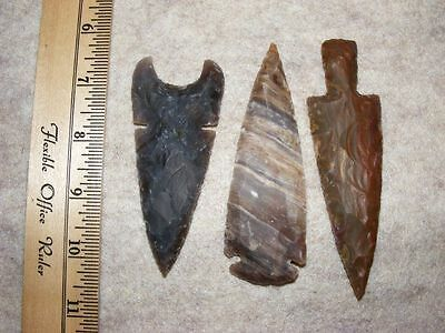 "Set Of 3 4"" Stone Spearheads Arrowheads Texas Estate Art-Bs So3-492"
