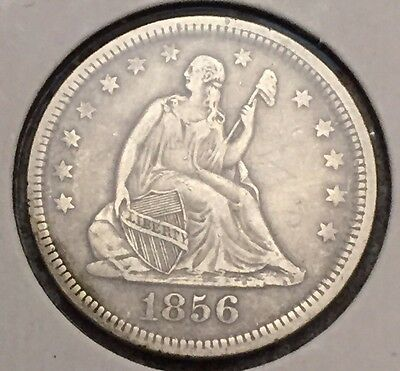 1856 Seated Liberty Silver Quarter. Very Fine++ Details. FREE SHIPPING#720