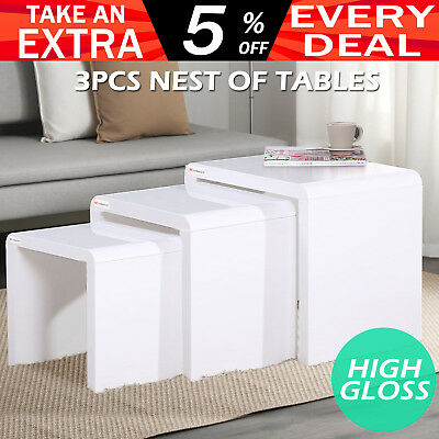 Nest of 3 Tables High Gloss Wooden Stackable Side Coffee Nesting End Table Set