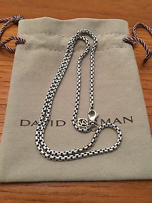 David Yurman Sterling Silver /14K 3.6MM Cable Box Link Chain Necklace 18""