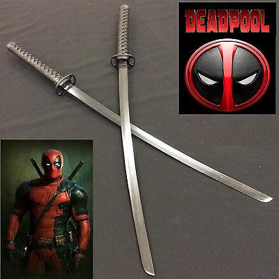 Marvel Hero Assassin Deadpool Black Double Samurai Katana set with Back Harness