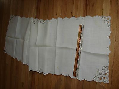Vintage runner- ecru linen with gray embroidered cut work