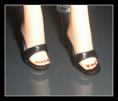 Shoes Mattel Barbie Doll Cool Collecting  Black Mules  High Heel Shoes Accessory