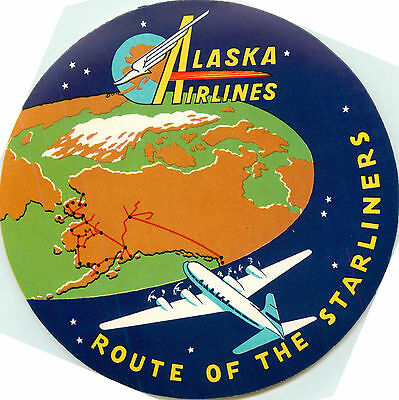 Route of the Starliners ~ALASKA AIRLINES~ Beautiful & Scarce Luggage Label, 1950