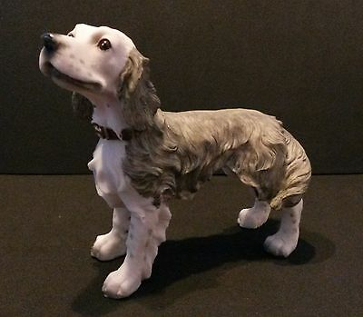 "NEW ENGLISH SETTER DOG Figurine, puppy animal sculpture, resin 5"", grey & white"