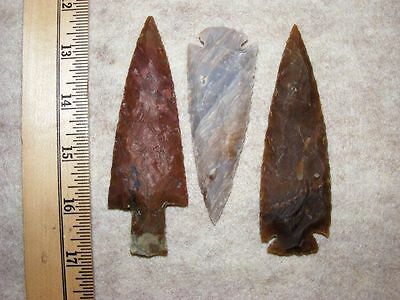 "Set Of 3 4"" Stone Spearheads Arrowheads Texas Estate Art-Bs So3-493"