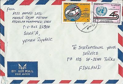 1991 Yemen (Republic) Air Mail Cover Sana'a To Turku Finland