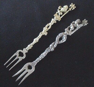 2 Vintage Small Cocktail Forks, Italy Tableware