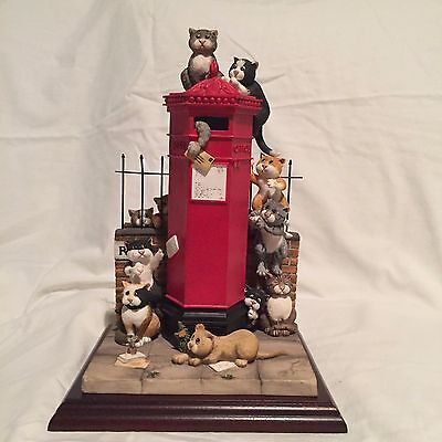 "Ltd Edt ""first Class Cats"" Rare Figurine Comic Curious Cats By Linda Jane Smith"