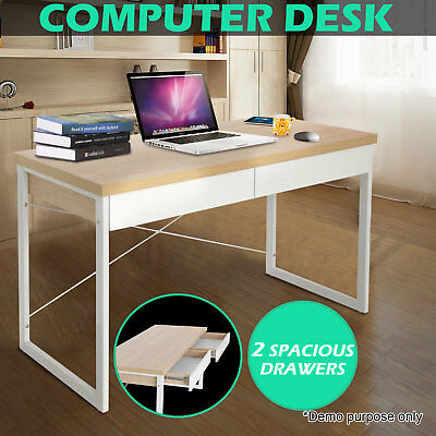 Computer Desk Office Study Table Metal Executive Drawer Cabinet Student Home