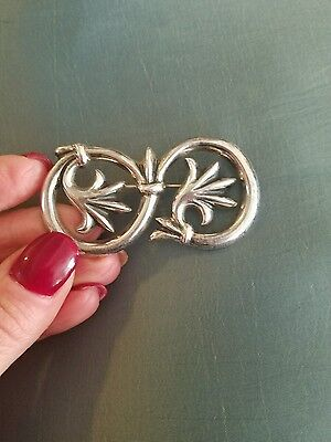 Sterling silver stamped large pin