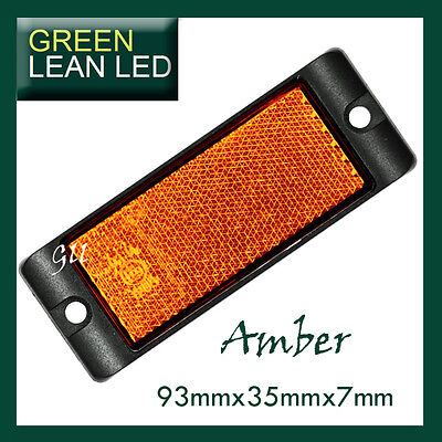 Amber Reflex Reflector with Mounting Bracket 93x35x7mm bus truck trailer cars