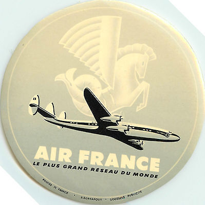 AIR FRANCE - Vibrant Old Airline Luggage Label, c. 1955      (Grey Version)