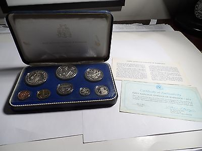 1973 First National Coinage Of Barbados Proof Set In Box