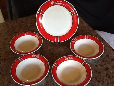 Vintage Coke Coca Cola Plate And 4 Bowls Collectible