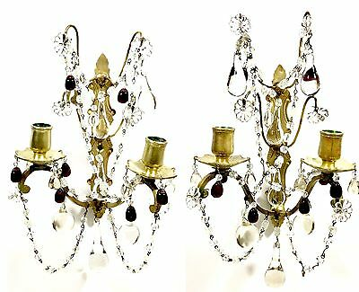 "Antique French Bronze Crystal Pair of Wall Sconces Hallmarked ""L.H."""