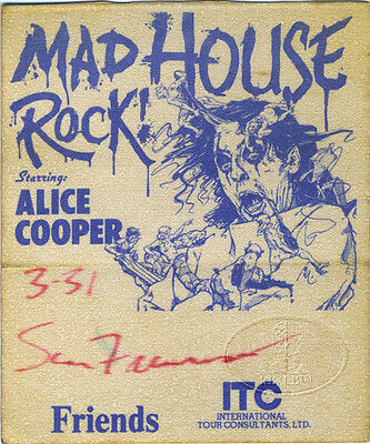 ALICE COOPER 1979 Mad House Rock Backstage Pass