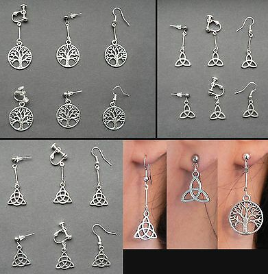 Celtic Pagan Tree of Life Triquetra Circle Earrings Hypo-allergenic Silver