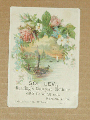 Vtg Victorian Advertising Card Sol. Levi Reading's Cheapest Clothier Reading, PA