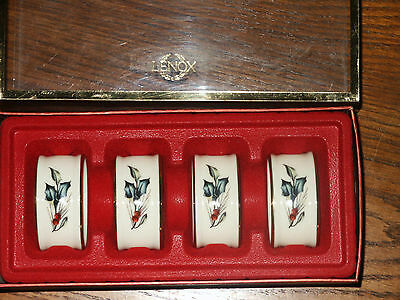 LENOX Winter Greetings Christmas NAPKIN RINGS Set of 4 Holly Gold Trim