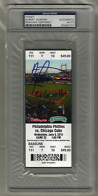 Albert Almora signed autographed June 18, 2016 FULL TICKET! - 1st Career Hit!