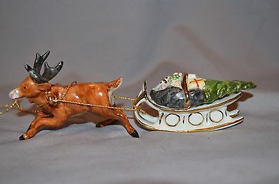 Porcelain Christmas Ornament Reindeer Sled With Gold Trim Marked Mz With Crown