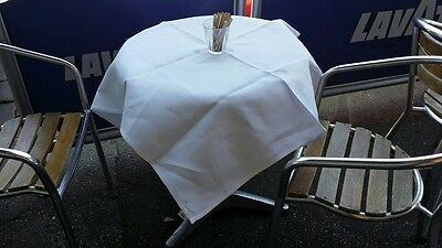 ***pack Of 15*** Commercial Ex Hire White Damask 100% Cotton Cafe Tablecloths