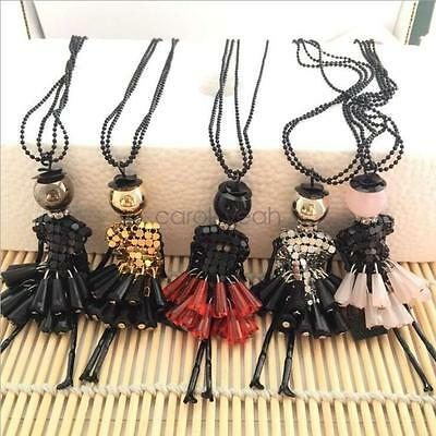 New Creative Cute Sweater Chain Tassel Doll Pearl Crystal Patches Long Necklace