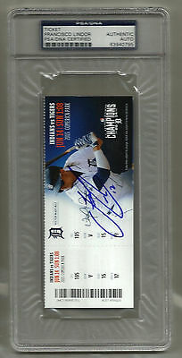 Francisco Lindor signed autographed debut game first hit FULL TICKET! 6/14/2015