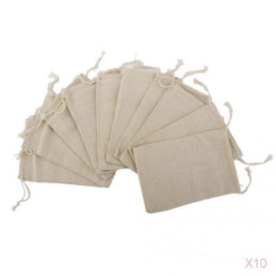 100pcs Simple Linen Jute Sack Jewelry Pouch Drawstring Gift Bags Wedding Favor
