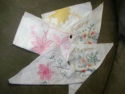 Lot of 5 VINTAGE EMBROIDERED LADIES WOMEN'S HANKIES HANKYS ~NEW