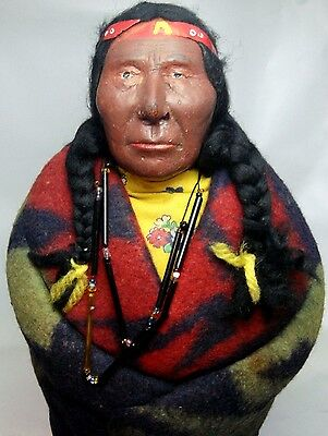 """ANTIQUE ESTATE OLD INDIAN CHIEF SKOOKUM DOLL 14 1/4"""" Tall"""