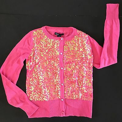Nwt Gap Kids Sequin Cardigan Sweater Pink Girls Medium 8  Holiday Line Sequins